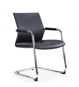 BLACK FAUX LEATHER CHROME FRAME CANTILEVER MEETING CHAIR